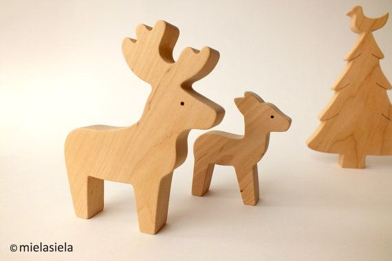 Reindeer fawn and christmas tree  Wooden toy  by mielasiela