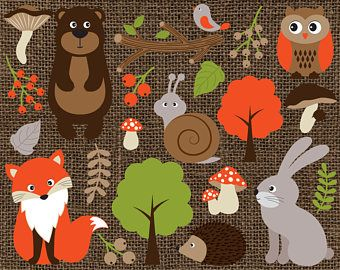 Woodland Animals Clipart - Vector Woodland Animals Clipart, Forest Animals Clipart, Animals Clipart, Woodland Animals Clip Art