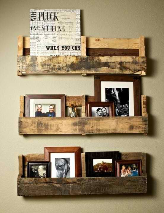 Pallet shelving! So cute!