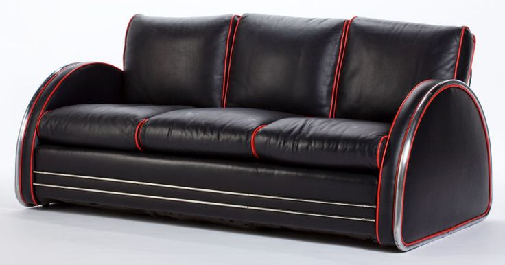 A royalchrome chrome and leather sofa attributed to donald for Art deco furniture chicago
