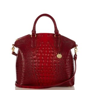 Brahmin's 'The Melbourne Collection' Duxbury Satchel in Ruby Croco Embossed Leather