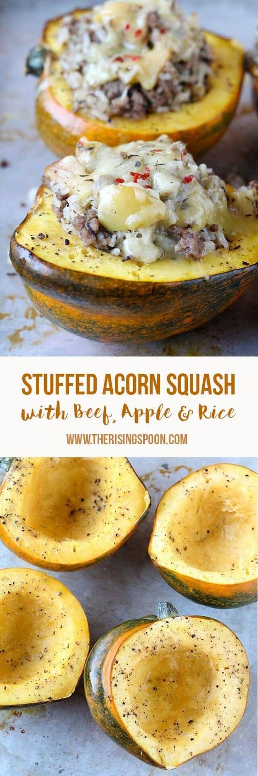 An easy recipe for baked acorn squash that's stuffed with a savory, slightly sweet & buttery filling of ground beef, apple, and rice. Fix this in about 40-45 minutes for an easy and healthy fall dinner recipe. This is a great meal to make when you're in a ground beef rut and need some fresh ideas using seasonal fall and winter ingredients. | Real Food Recipes | Dinner Recipes |