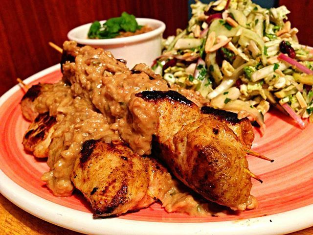 Turkey Satay Sticks with Cranberry & Fennel Slaw