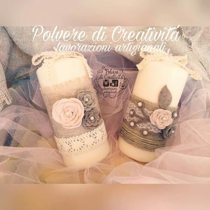 Candela profumata handmade , stile #shabbychic realizzata interamente a mano per un dolcissimo #matrimonio  #wedding #candela #bomboniera #shabbychic #shabby #fattoamano #feltro #pannolenci