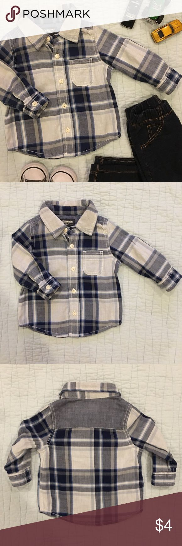 💖 OshKosh B'Gosh Plaid Toddler Button Down 🌟TWO AVAILABLE🌟 Put your handsome guy in this blue plaid button down and pair with jeans for a casual play date, or khakis for a nicer event. Great condition! 😍💙  👔Materials 100% Cotton  📏Size 12 Months  🌟Bundle 2 or more items and save 15%!  📸 Follow me on Instagram @cubbycreekboutique Osh Kosh Shirts & Tops Button Down Shirts