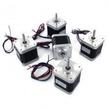 Kit motores NEMA 17  Kit de 5 motores NEMA 17 4.8 Kg/cm para impresora 3D RepRap (distribuido por bq)   Contenido:    - 5 motores Nema 17   Especificaciones:    - Torque: 4,8 kg / cm - 47,1 N-cm    - Tensión alimentación: 3.1V    - Paso: 1,8 grados    - Corriente máxima: 2.5A    - Nº. de cables: 4 (30 cm)