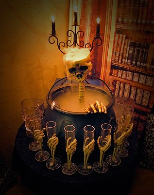 creepy cool punch bowl and glasses