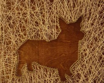 Handmade String Art 2 x 2piece. Wood, Stain, Nails and Crochet Thread. Made to order.