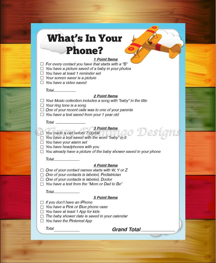 Baby Shower Game What's In Your Phone Game by TipsyFlamingoDesigns