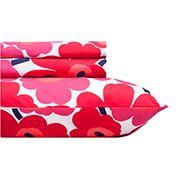 Home Decor: Unikko red Twin-XL Sheet Set | Marimekko Store