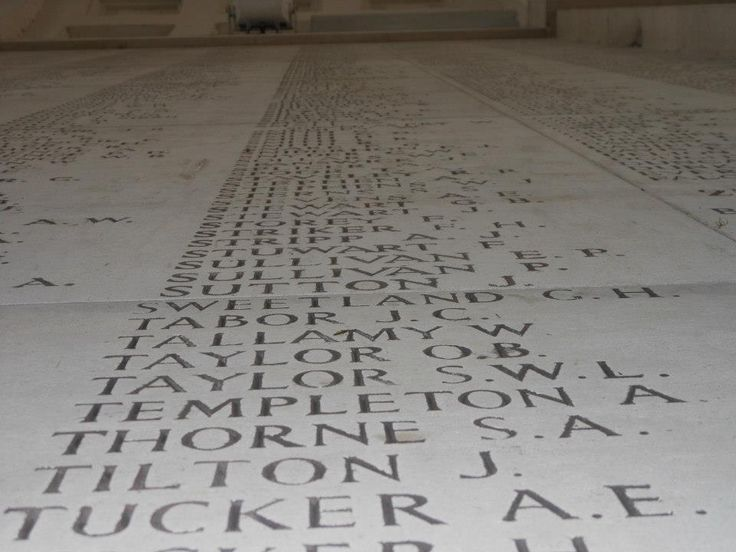 Just a few of the more than 54,000 names of the missing on the Menin Gate, Ypres.