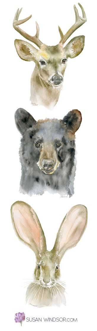Woodland animal watercolor art. Just right for the woodland nursery! (or the study, library, living room...)