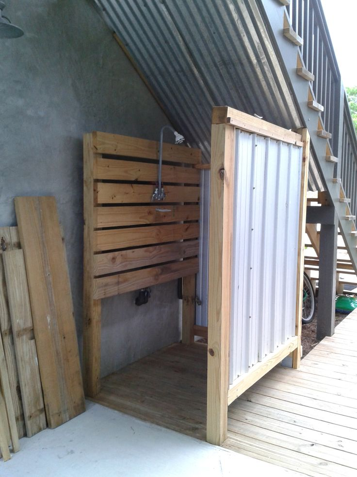 Creating An Outside Shower Under Stairs First Step Put