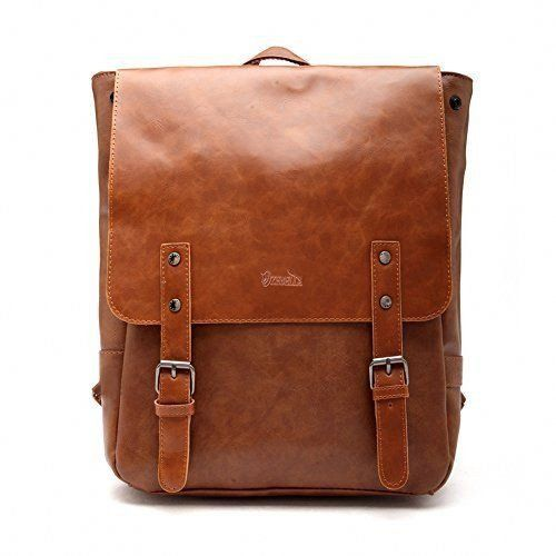 Goodgod Pu Crazy Horse Leather Like Vintage Womens Backpack School Bag Cheap Back Pocket But Thin Straps And Fake