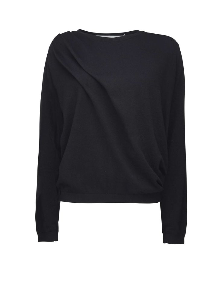 Tiger Of Sweden: Crist pullover - Women's black pullover in soft cotton-cashmere blend. Features round neckline and pleat from shoulder seam across to side seam. Ribbed trim at neck, cuff and bottom hem. Relaxed fit. Hip length.