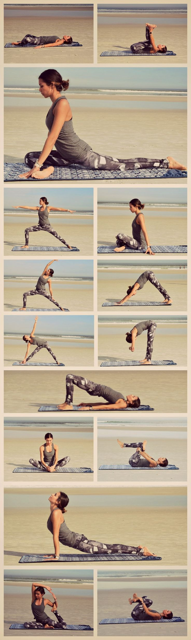 Repin to practice these poses later!  This Yoga Sequence helps to stretch out tight hip flexors & hamstrings.  This decreases muscle aches & pains, increases flexibility, and decreases risk for injuries.  This is especially useful for runners and other athletes. | Yoga, Stretching, Health & Fitness Inspiration