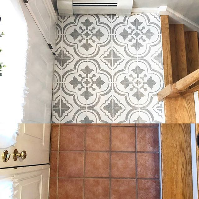 DIY entry way tile floor makeover on a budget usin…