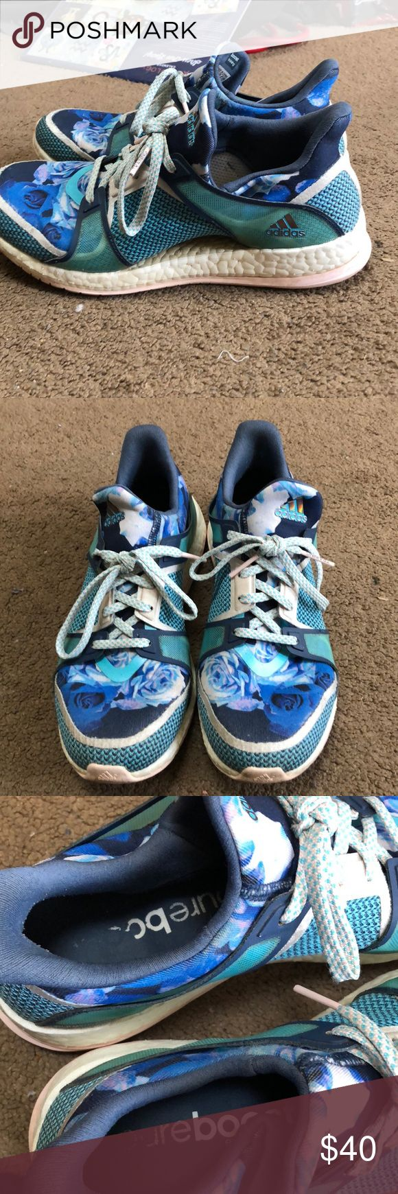 Adidas Pure Boost X size 8.5 Have been worn on maybe 3 hikes so there is some wear. Blue with roses. I wear a 7.5 and they are a little big, would fit a 7.5 or 8. adidas Shoes Athletic Shoes