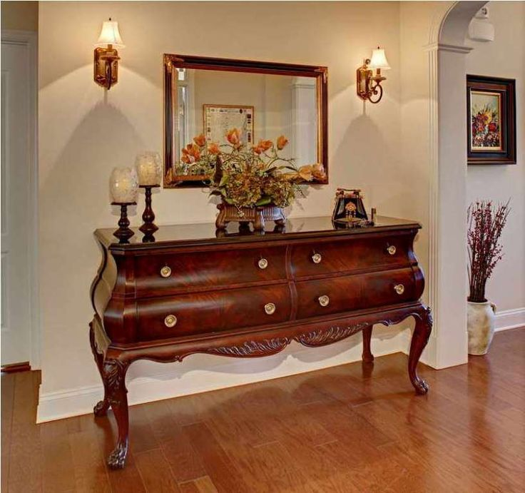 ideas for foyer furniture. french inspired foyer console and a flower centerpiece ideas for furniture