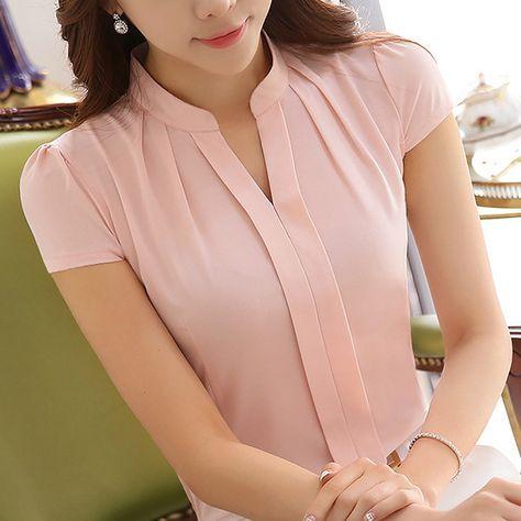 2016 Nuevas Mujeres de la Oficina Camisas Blusas Rosa Púrpura Elegante de la Gasa de Las Señoras de La Blusa de Manga Corta Tops Para Mujer Chemise Femme 861B 25