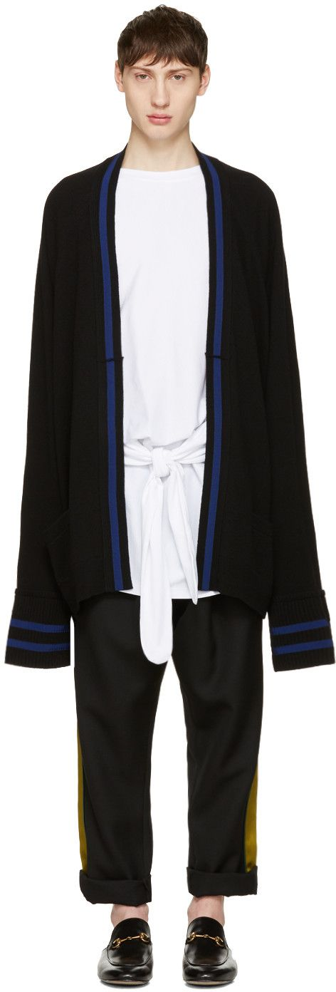 Haider Ackermann: Black Long Wool Cardigan | SSENSE