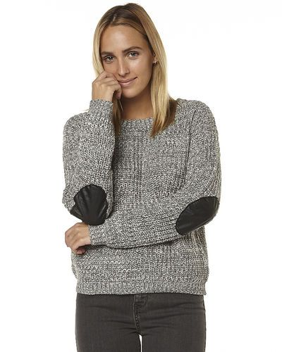 SASS ELBOW PATCH WOMENS KNIT - GREY MARLE