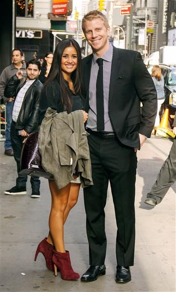 "Catherine Giudici and Sean Lowe arrive at ABC studios for ""Good Morning America"" in New York on Oct. 15, 2013."