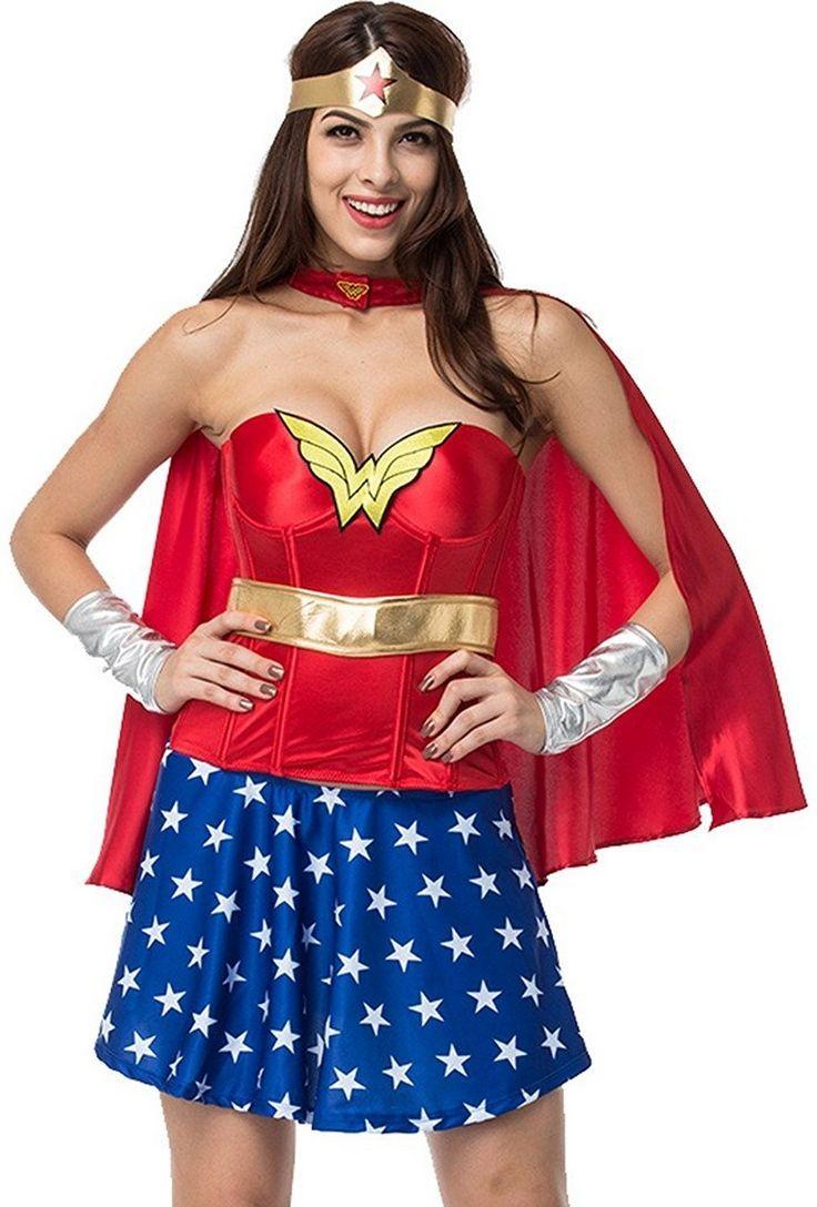 American Wonder Woman Superhero Corset Costume Halloween Fancy Dress Outfit