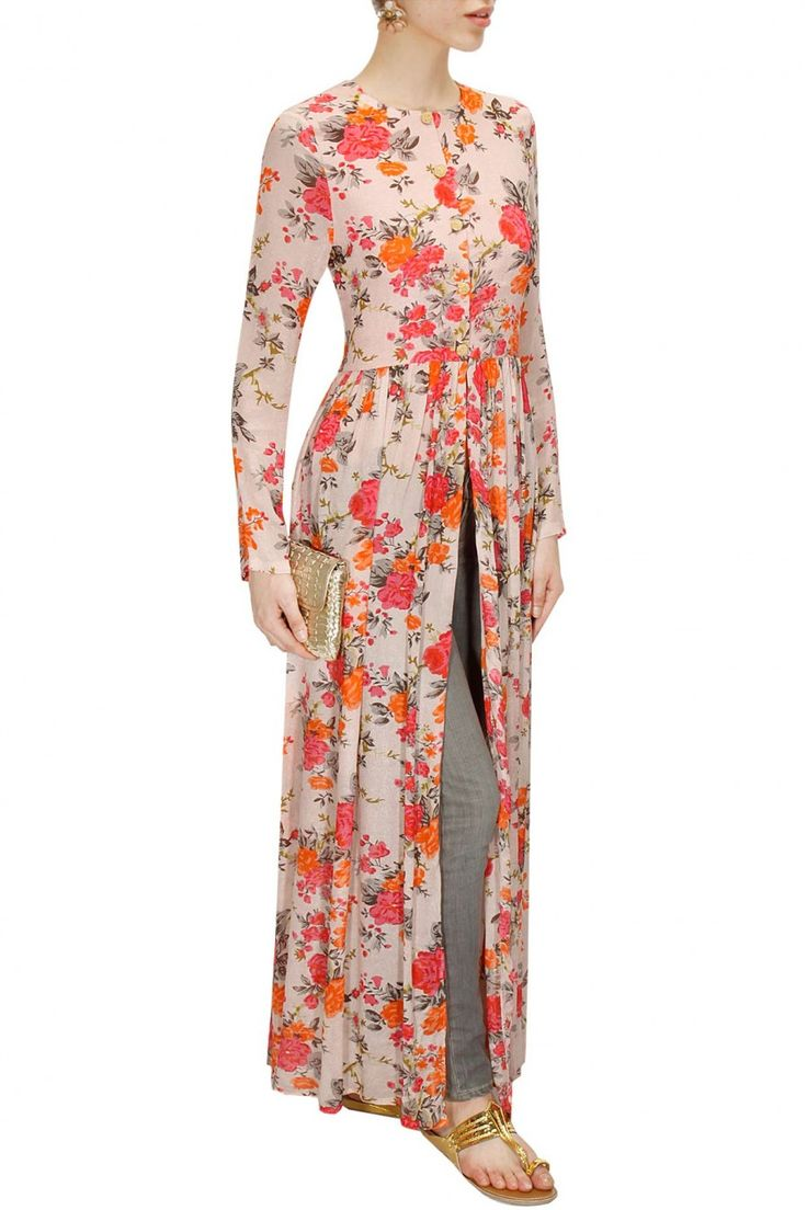 Pale pink floral print long cape available only at Pernia's Pop-Up Shop.