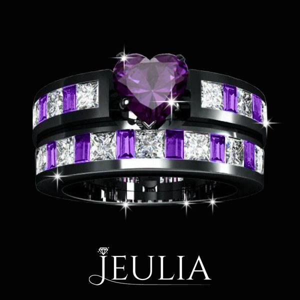 Amethyst Heart Gemstone 925 Sterling Silver with 18K Black Gold Women's Purple Engagement Ring / Wedding Ring Set. #jeulia #weddingbridalset #fashionjewelry