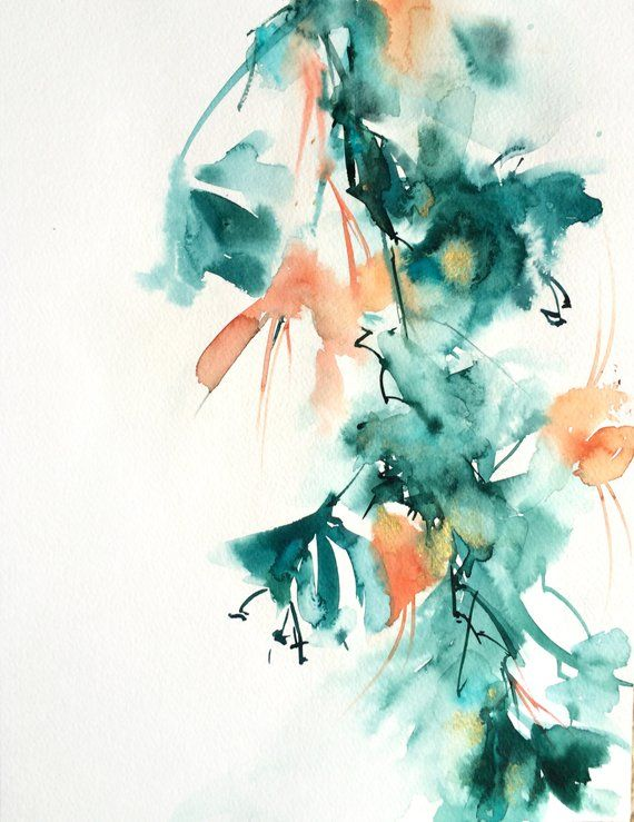 Abstract Floral Original Watercolor Painting Flowers Botanical