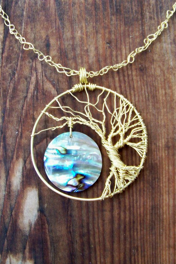Abalone Paua Brass Wire Tree of Life Necklace