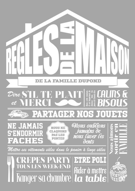 Affiche r gles de la maison enti rement personnalisable coloris gris d coration - Lamaisonduconvertible en ...