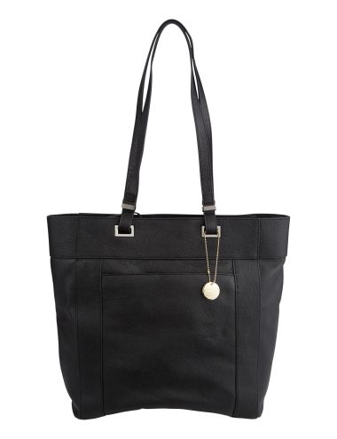 This large shopper bag has a 100% leather outer and a zipped compartment in a black colourway. #NewandNow