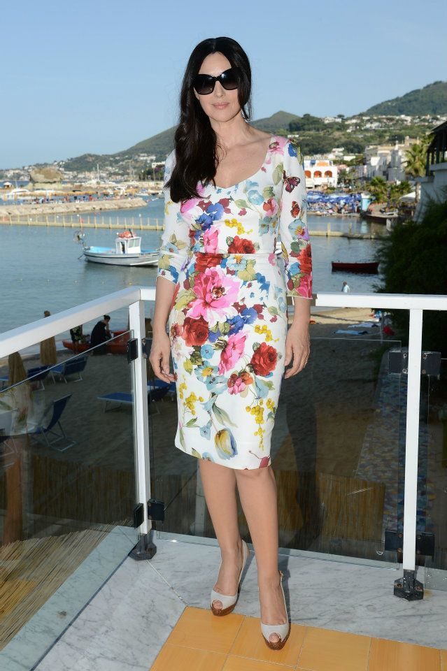 Monica Bellucci spotted in Dolce at the Ischia Global Fest 2012 in Ischia, Italy.