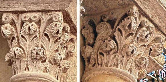Fig. 74: chapiteau végétal, type 2 (chap 66).- 228) IMAGES REVUES: Le chapiteau suivant (Fig 74 ci-dessus), présente 2 couronnes de feuilles à extrémités bombées retombant en une double petite feuille trilobée. Les feuilles supérieures partent de la base -celle de la façade latérale gauche n'étant qu'une grande demi feuilles asymétrique, s'ouvrant en éventail. Le feuillage est surmonté de longues paires de crosses fines et nervurées sur caulicole (type 2, codage jaune vert).