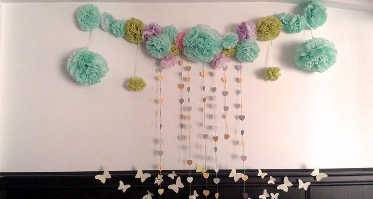 Photo corner backdrop with pom-poms, hearts garlands and lots of butterflies #andra&andrei
