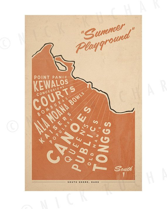 Where you find us! South Shore Oahu Surf Map - 12x18 Retro Hawaii Print