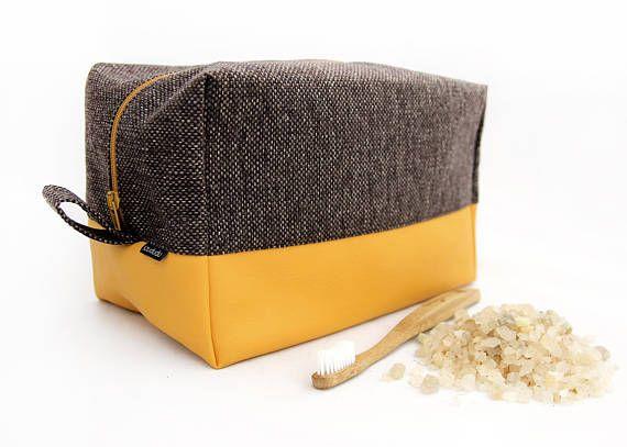 Large toiletry bag: yellow, big cosmetic bag honey travel dopp kit vegan leather vegan bag