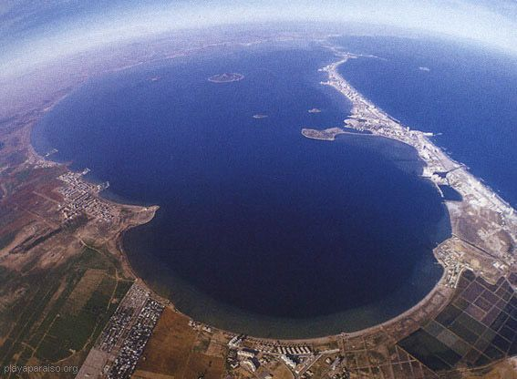 The largest swimming pool in the world!Murcia coastline,the Mar Menor ,a warm & salty lagoon.(aerial view,from La Manga to San Pedro del pinatar)