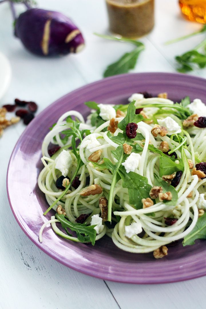 Kohlrabi and Green Apple Noodle Arugula Salad with Goat Cheese, Dried Cranberries & Walnuts with a Honey-Dijon Dressing
