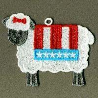 Patriotic sheepEmbroidery Ideas, Patriots Sheep, Fsl Folk, Folk Sheep, Machine Embroidery Designs
