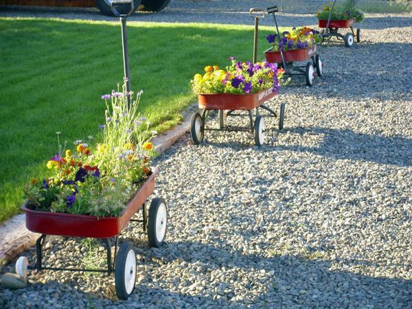 Children's wagons with flowers in a row. Fabulous garden container ideas!