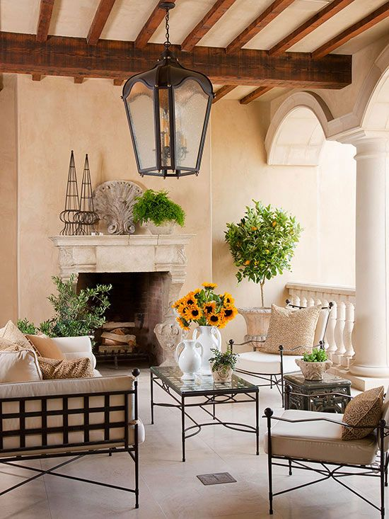 Exterior Spaces- Such a calming area.. love the beams, the lantern and columns