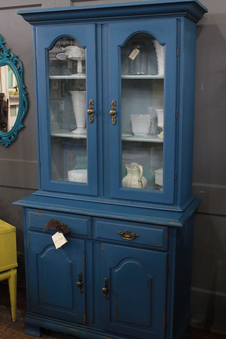 Very Nice Vintage Hutch Two Pieces Painted In Shades Of Blue Latex