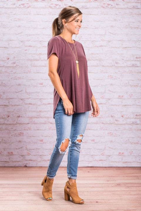 You don't have a moment to spare when it comes to purchasing this casual, comfy top! It's going to sell out so fast! Why, you ask? Because this is not your average basic tee! This plum top is insanely soft and even that is an understatement!! Plus, the extreme side slits are totally trendy! This top is going to be the perfect go to casual top this fall!