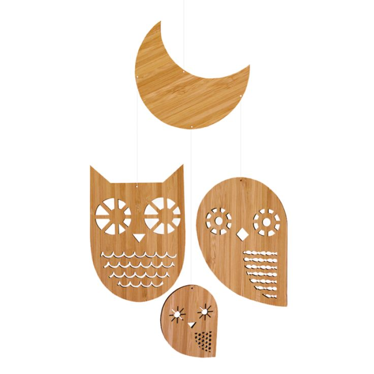 Owl Family Bamboo Mobile - Petit Collage for sale by Little Shop of Treasures. Other Petit Collage available now at LSOT.