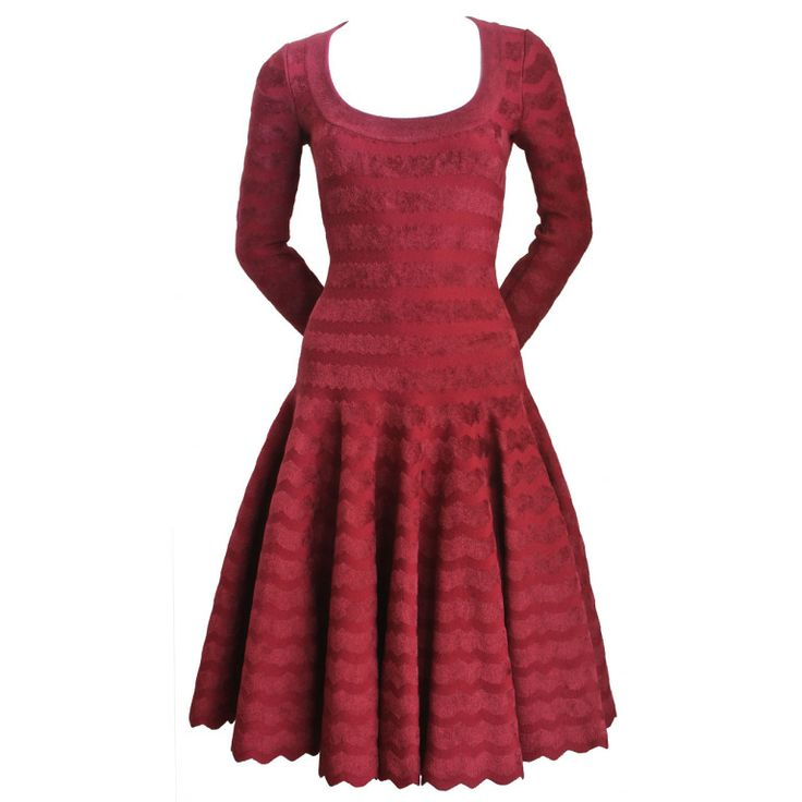 AZZEDINE ALAIA zig zag cranberry chenille knit dress | From a collection of rare vintage day dresses at http://www.1stdibs.com/fashion/clothing/day-dresses/