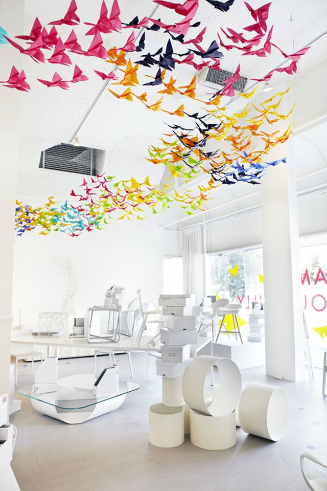 A flock of colorful origami butterflies flutter overhead in this installation, entitled Dream Colourfully, by Dream Interiors and Elixr. This collaborative piece was created for Saturday In Design, an annual event for the design community that alternates each year between Sydney and Melbourne.