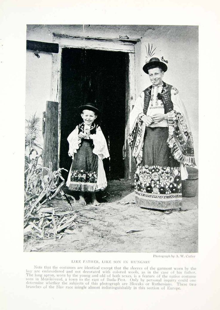 1918 Print Hungarian Costume Traditional Folk Dress Hat Father Son Hungary YNG3 | eBay